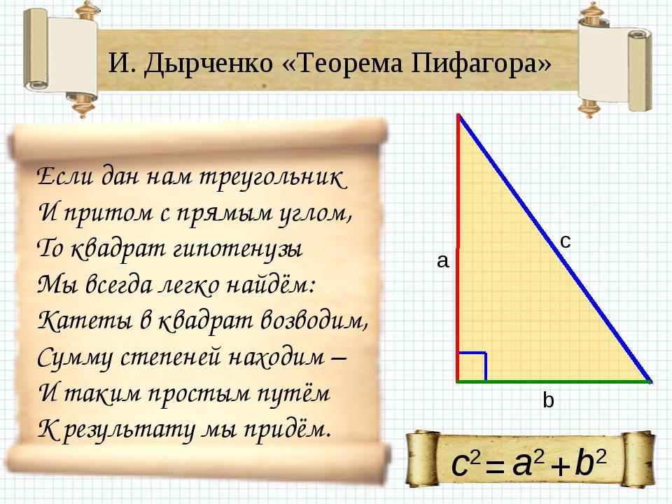 И. Дырченко «Теорема Пифагора» Если дан нам треугольник И притом с прямым угл...