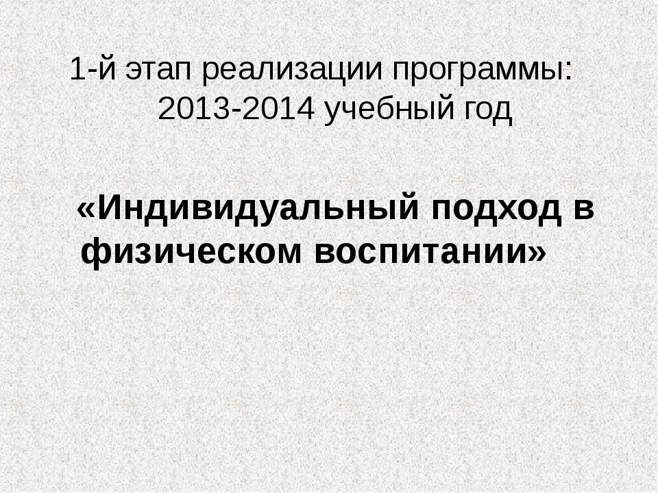 1-й этап реализации программы: 2013-2014 учебный год «Индивидуальный подход в...