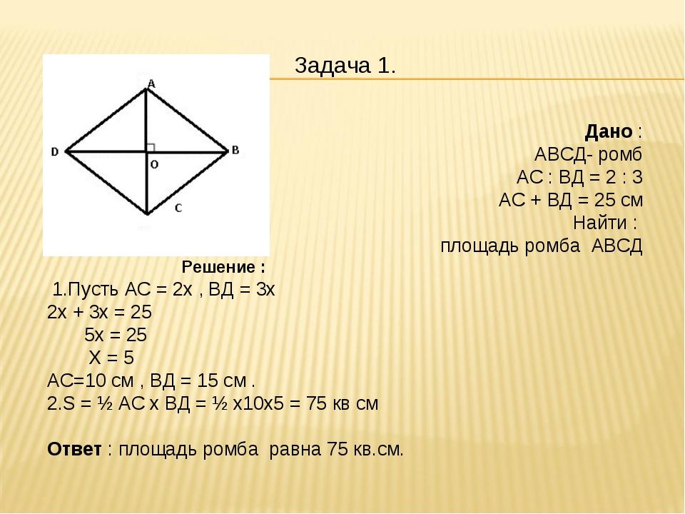 Решение задач на площадь 8 класс решение задач по геометрии с ромбом