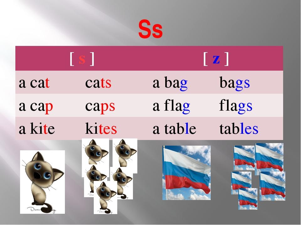 Ss [s] [z] a cat cats a bag bags a cap caps a flag flags a kite kites a table...