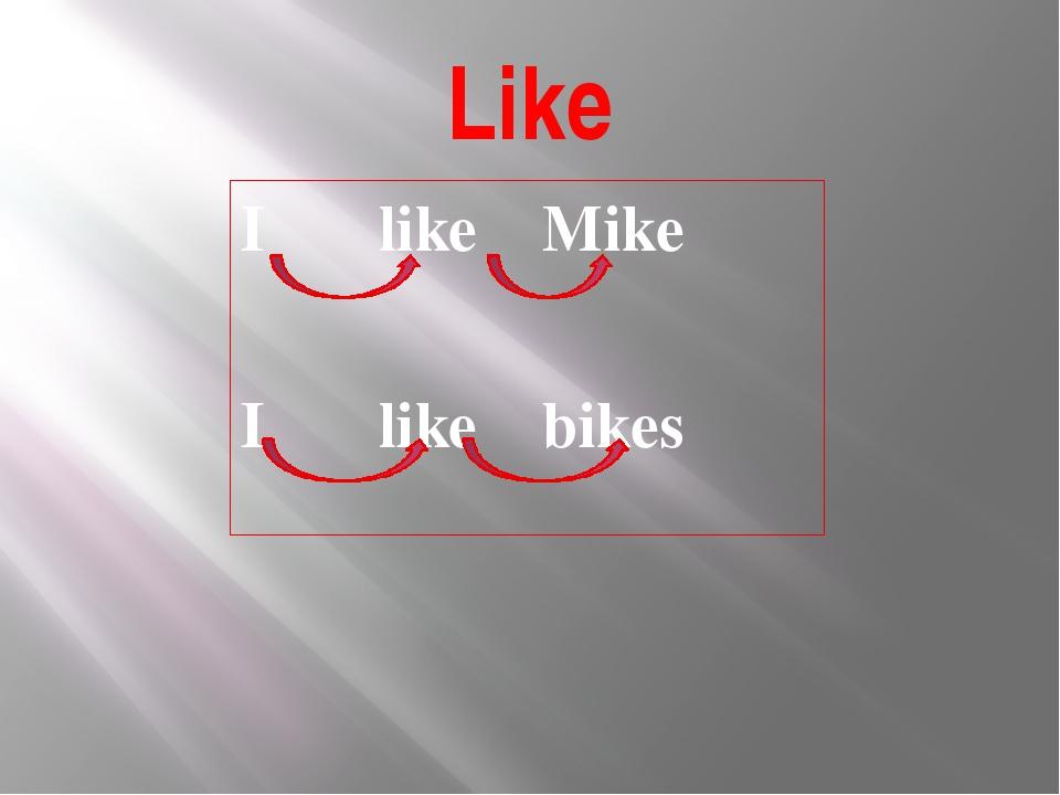 Like I like Mike I like bikes
