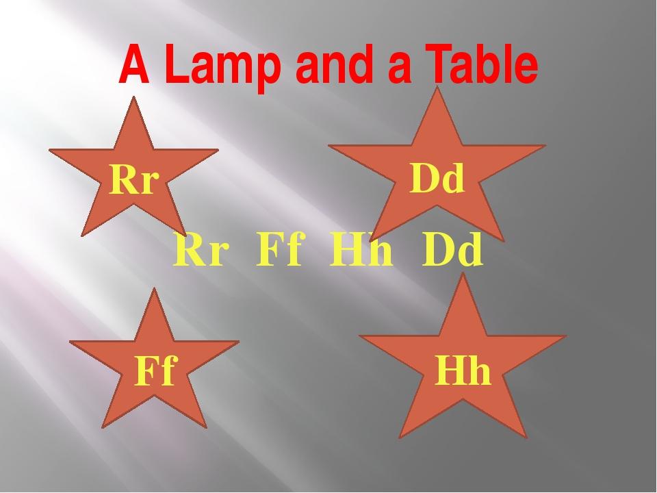 A Lamp and a Table Rr Ff Hh Dd Rr Ff Hh Dd