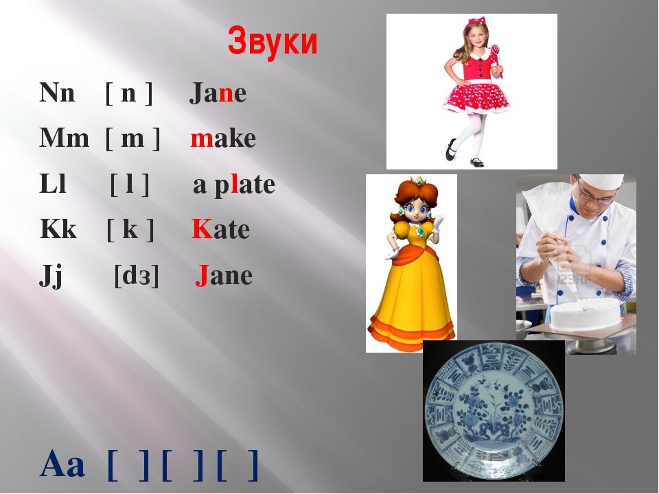 Звуки Nn [ n ] Jane Mm [ m ] make Ll [ l ] a plate Kk [ k ] Kate Jj [dз] Jane...