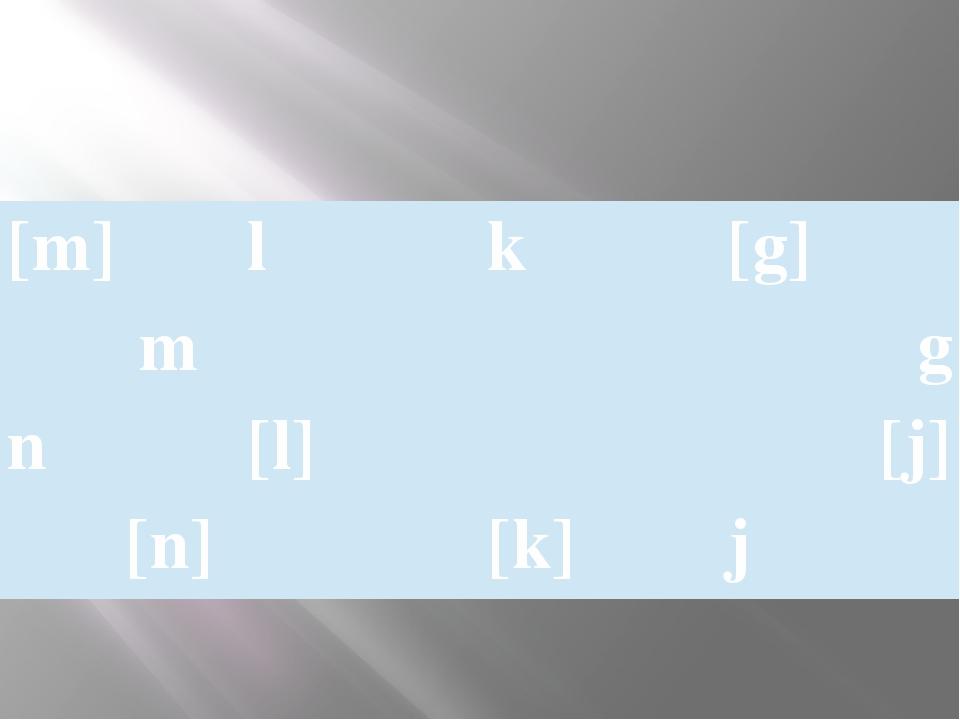 [m] l k [g] m g n [l] [j] [n] [k] j