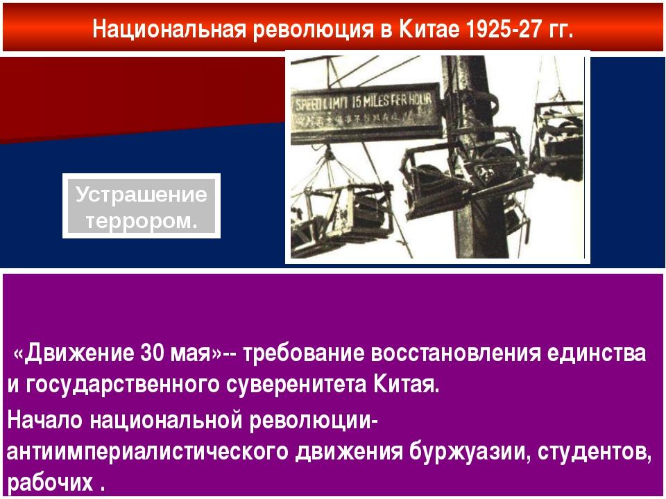 Национальная революция в Китае 1925-27 гг. «Движение 30 мая»-- требование вос...