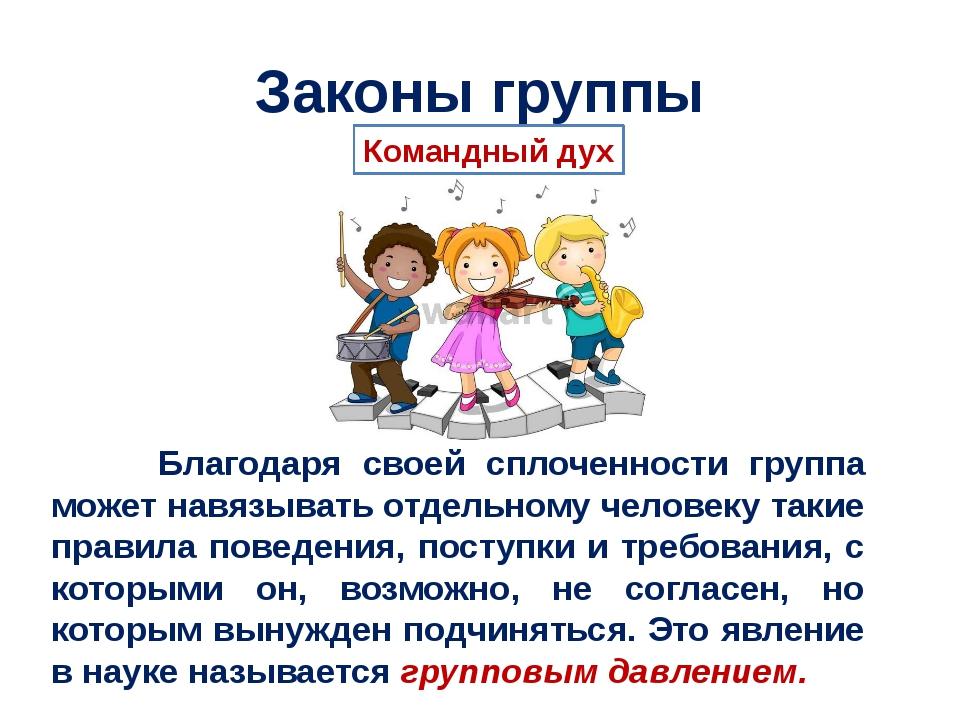 Законы группы Благодаря своей сплоченности группа может навязывать отдельному...
