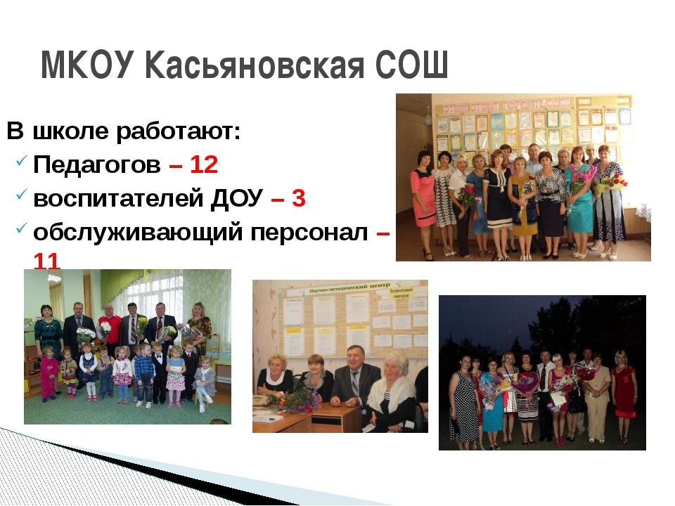 В школе работают: Педагогов – 12 воспитателей ДОУ – 3 обслуживающий персонал...