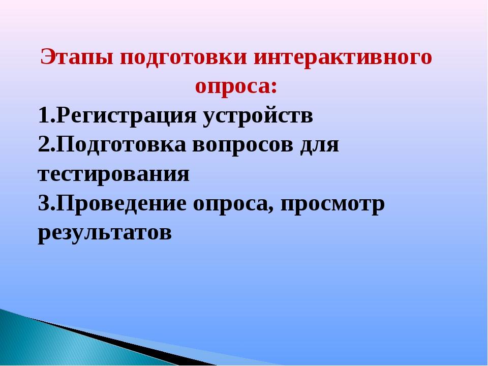Этапы подготовки интерактивного опроса: Регистрация устройств Подготовка вопр...
