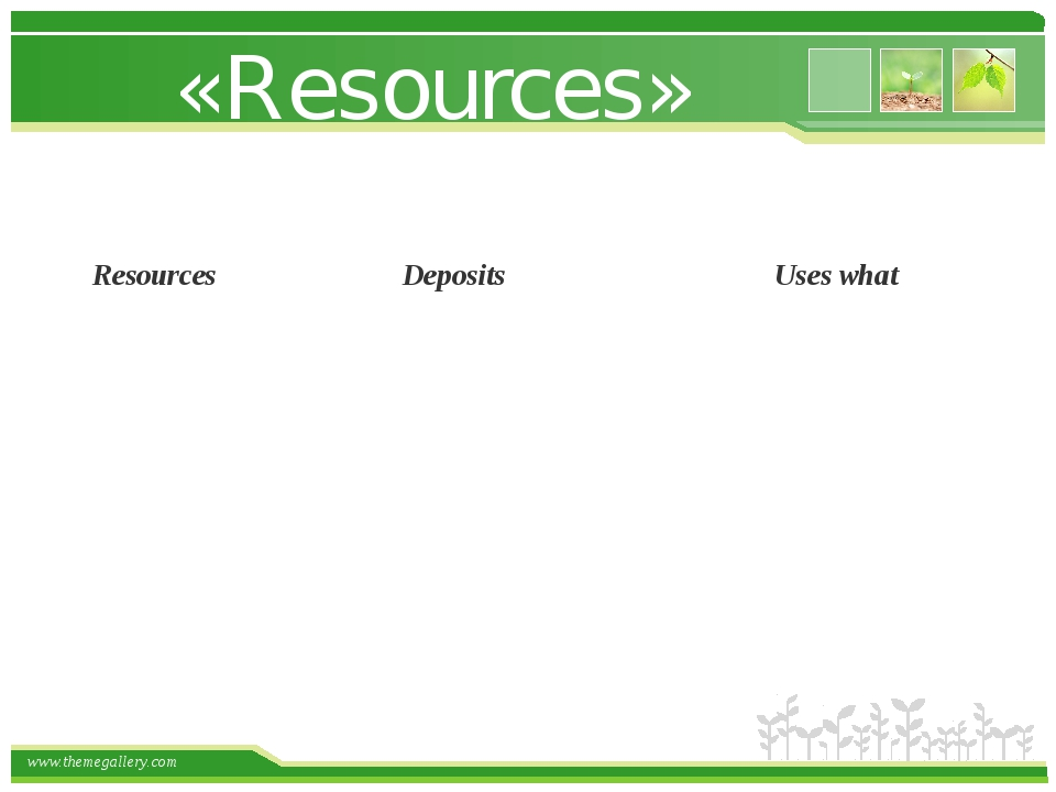 «Resources» Resources Deposits Uses what www.themegallery.com