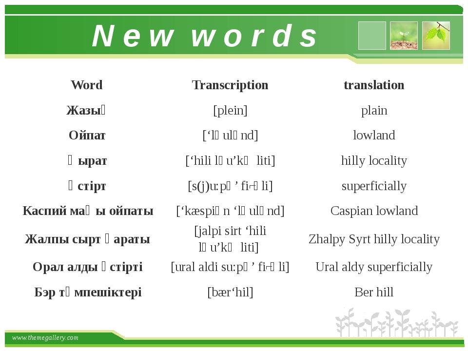 N e w w o r d s Word Transcription translation Жазық [plein] plain Ойпат ['lә...