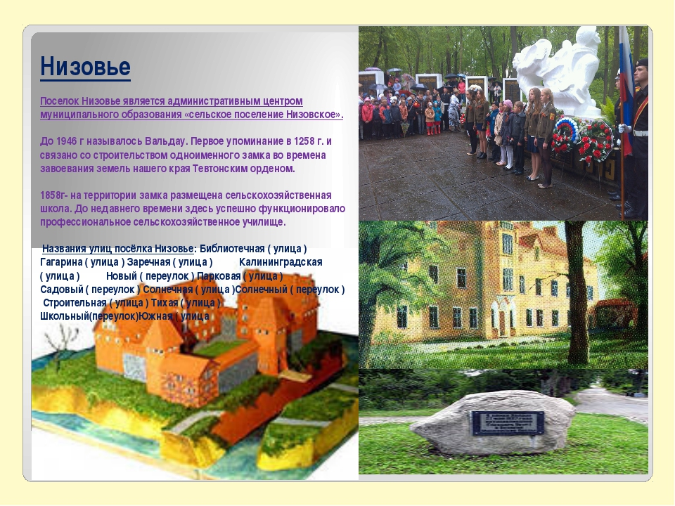 Низовье Поселок Низовье является административным центром муниципального обр...