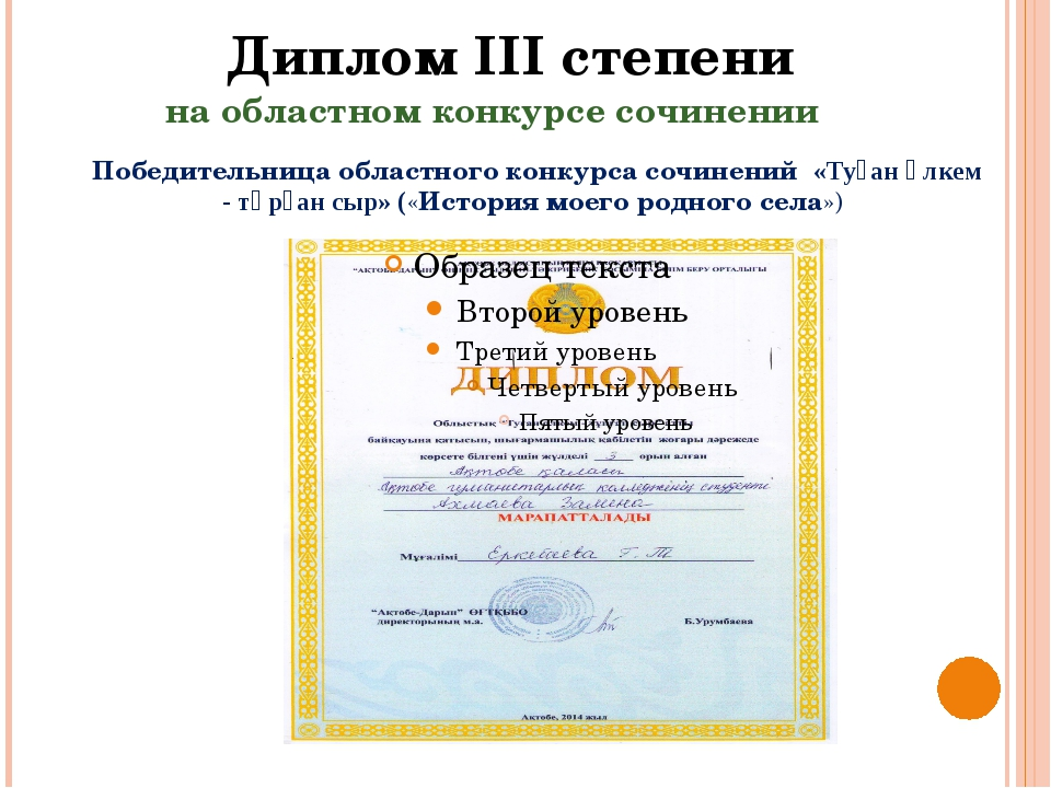Диплом III степени на областном конкурсе сочинении Победительница областного...