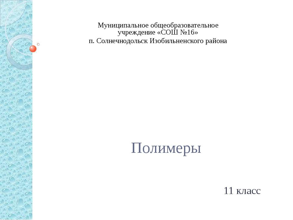 Полимеры 11 класс Муниципальное общеобразовательное учреждение «СОШ №16» п....