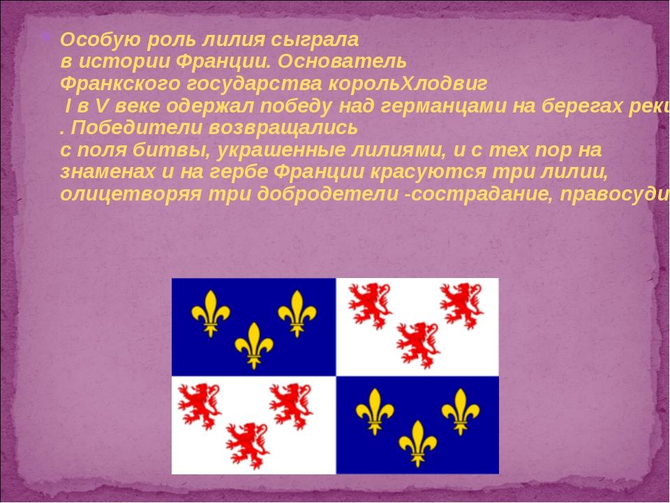 Особую роль лилия сыграла в истории Франции. Основатель Франкского государств...