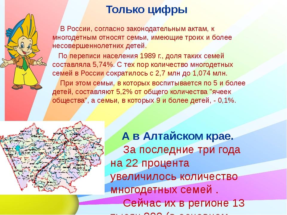 Только цифры В России, согласно законодательным актам, к многодетным относят...