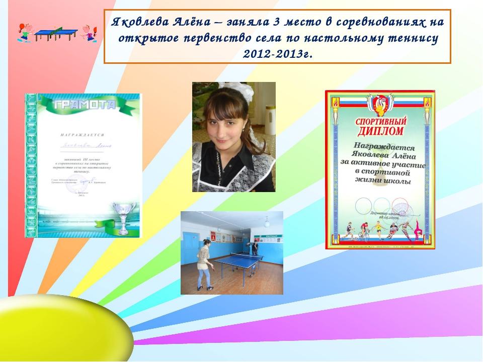 Яковлева Алёна – заняла 3 место в соревнованиях на открытое первенство села п...