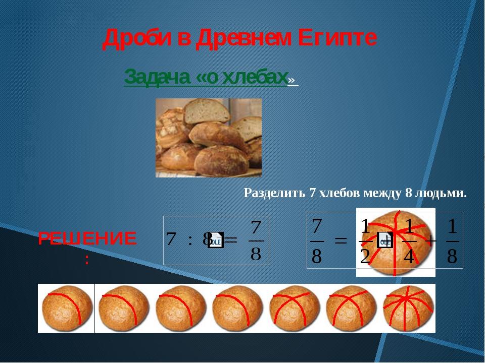 Дроби в Древнем Египте Задача «о хлебах» Разделить 7 хлебов между 8 людьми. Р...