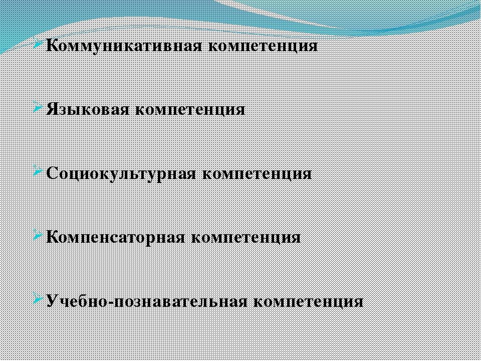 Коммуникативная компетенция Языковая компетенция Социокультурная компетенция...