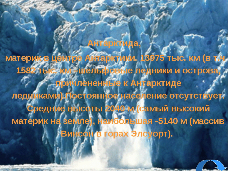 Антарктида, материк в центре Антарктики. 13975 тыс. км (в т.ч 1582 тыс. км –ш...