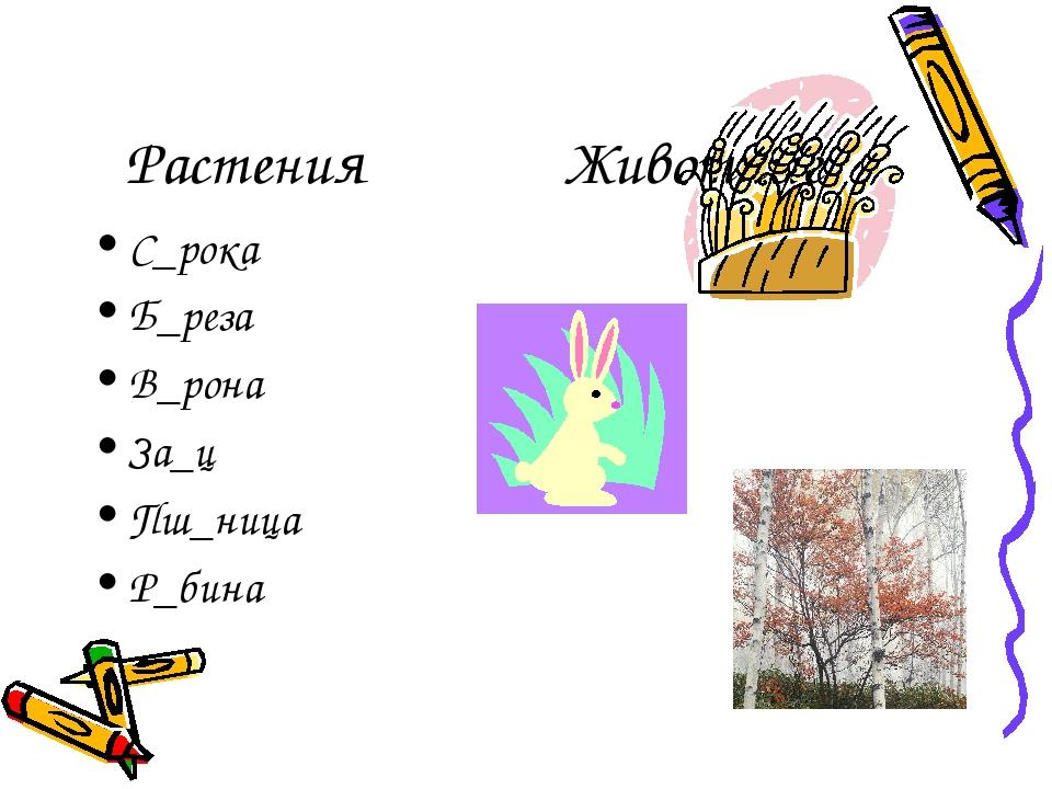 Растения Животные С_рока Б_реза В_рона За_ц Пш_ница Р_бина