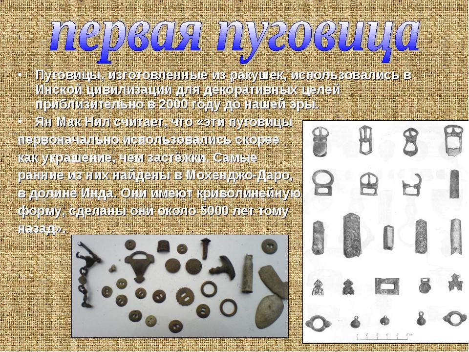 Пуговицы, изготовленные из ракушек, использовались в Инской цивилизации для д...