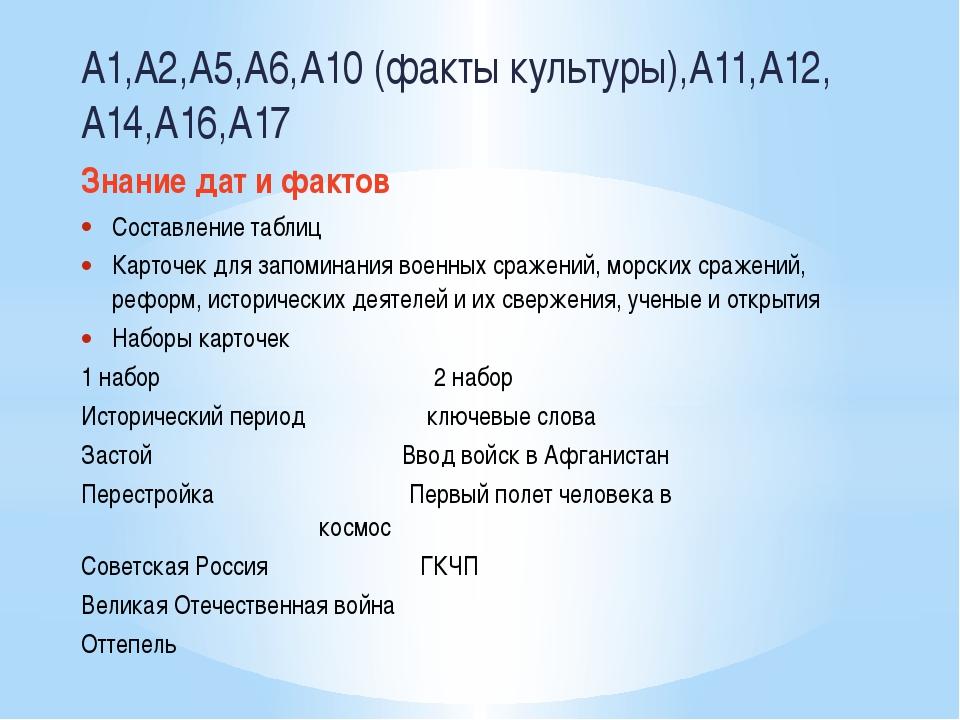 А1,А2,А5,А6,А10 (факты культуры),А11,А12, А14,А16,А17 Знание дат и фактов Со...