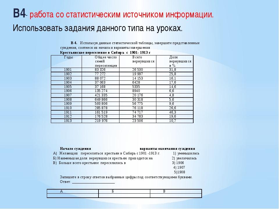 В4- работа со статистическим источником информации. Использовать задания дан...