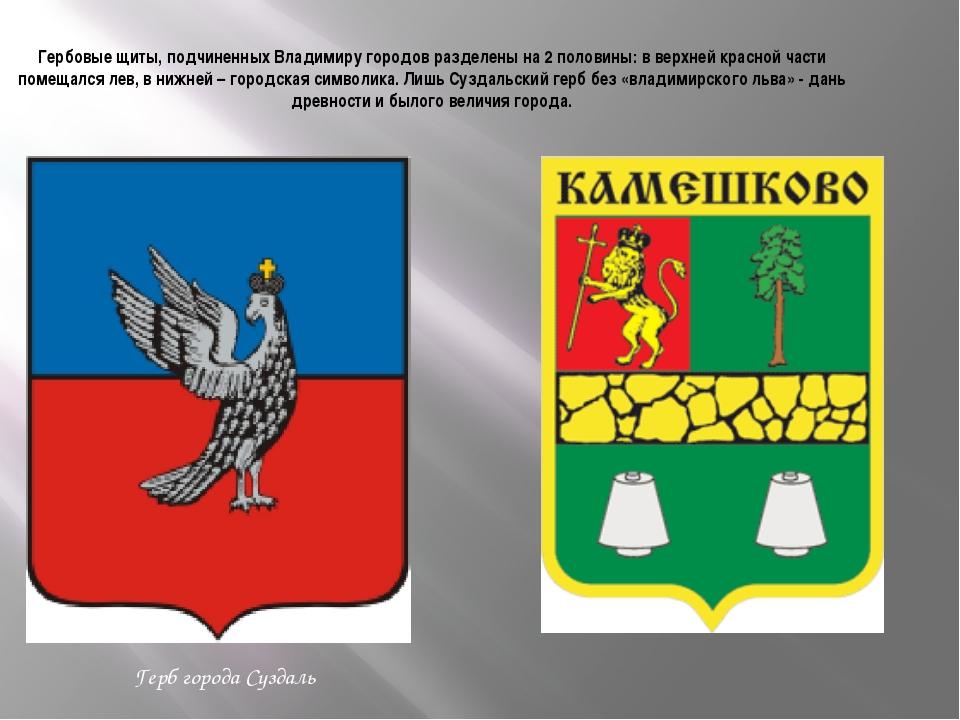 Гербовые щиты, подчиненных Владимиру городов разделены на 2 половины: в верхн...