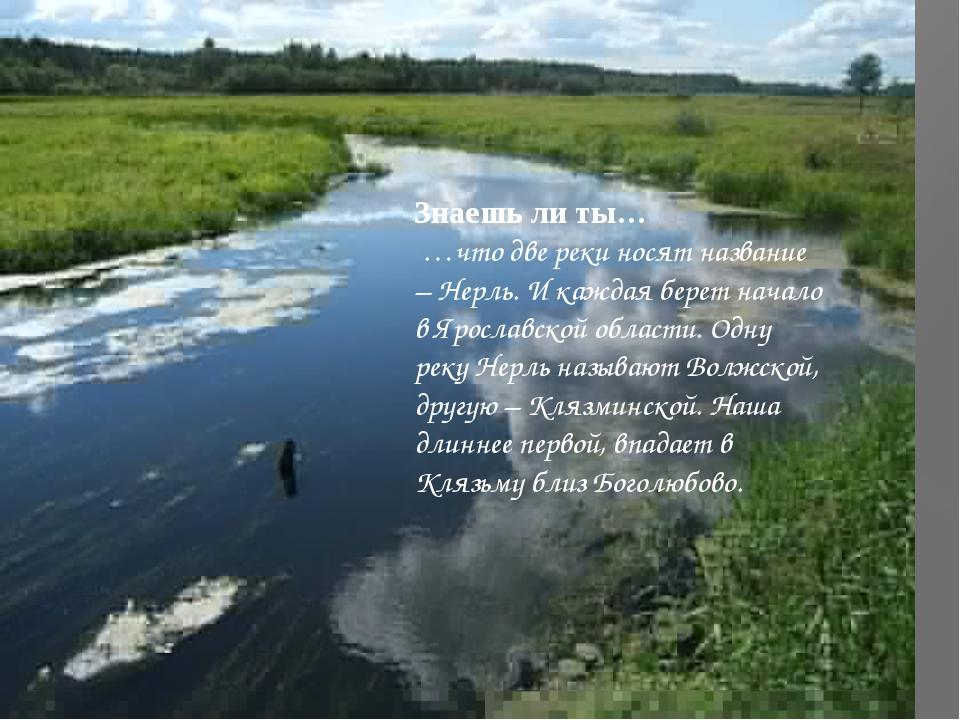 Знаешь ли ты… …что две реки носят название – Нерль. И каждая берет начало в Я...