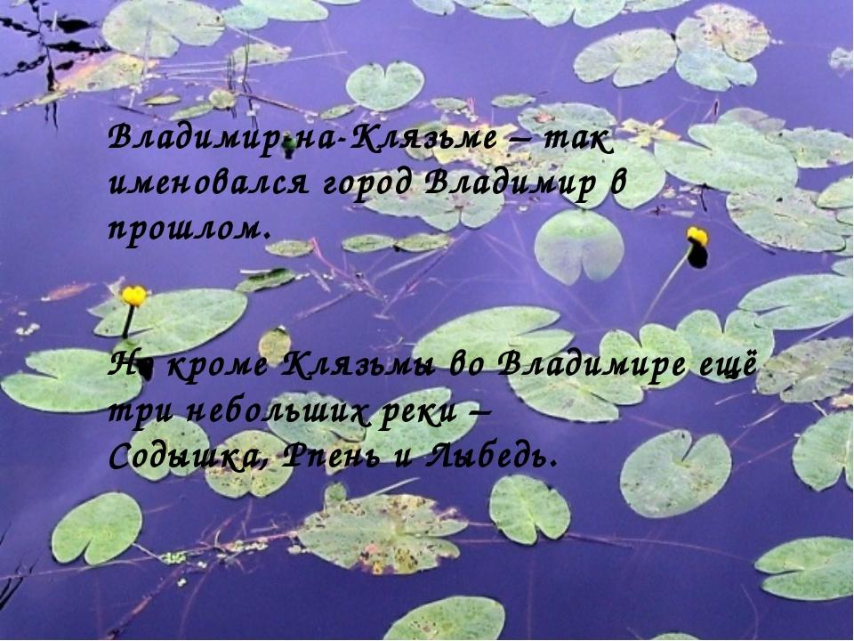 Владимир-на-Клязьме – так именовался город Владимир в прошлом. Но кроме Клязь...