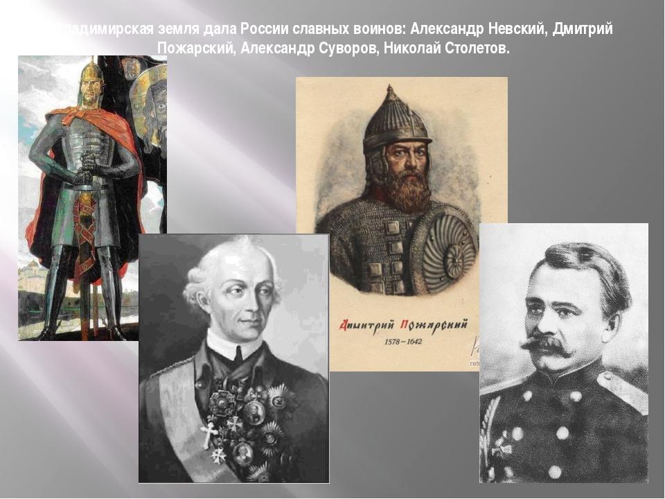 Владимирская земля дала России славных воинов: Александр Невский, Дмитрий Пож...