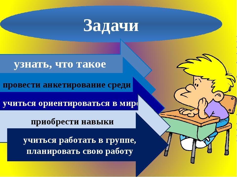 Задачи узнать, что такое профессия провести анкетирование среди учеников школ...