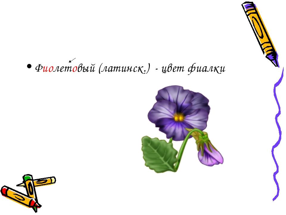 Фиолетовый (латинск.) - цвет фиалки