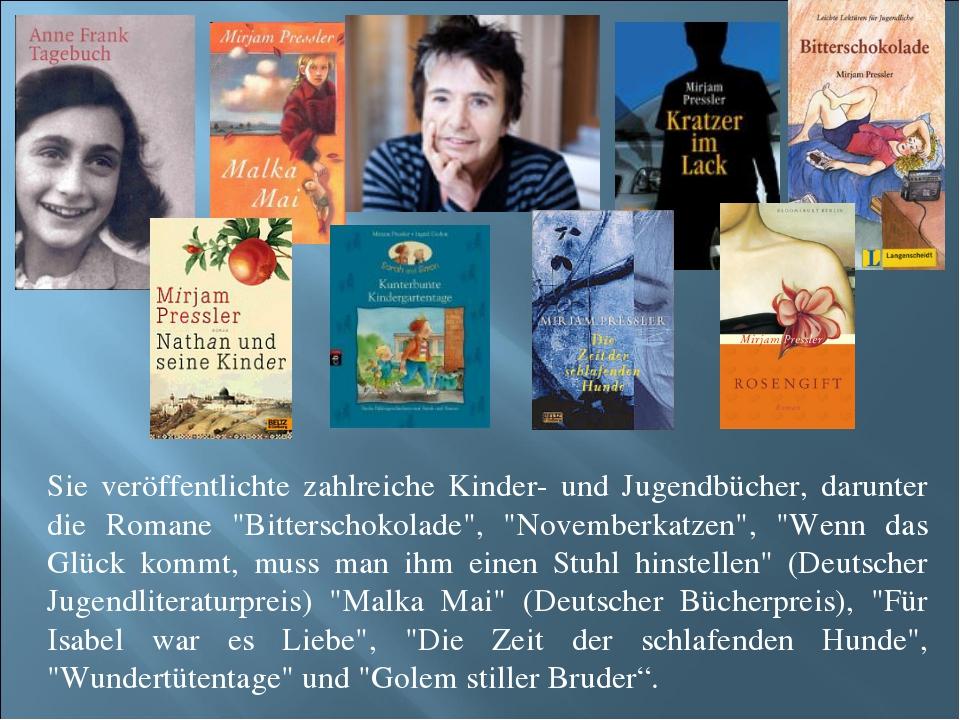 Sie veröffentlichte zahlreiche Kinder- und Jugendbücher, darunter die Romane...