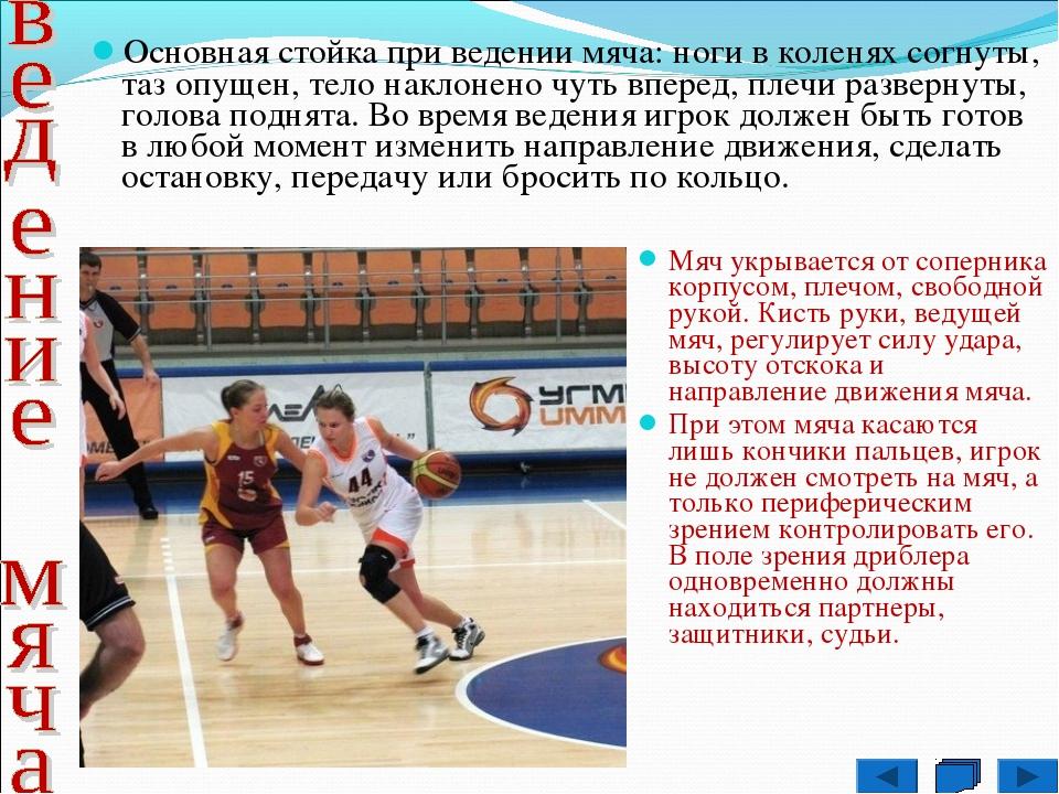 Основная стойка при ведении мяча: ноги в коленях согнуты, таз опущен, тело на...