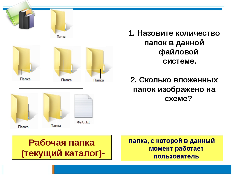 Назовите количество папок в данной файловой системе. 2. Сколько вложенных па...
