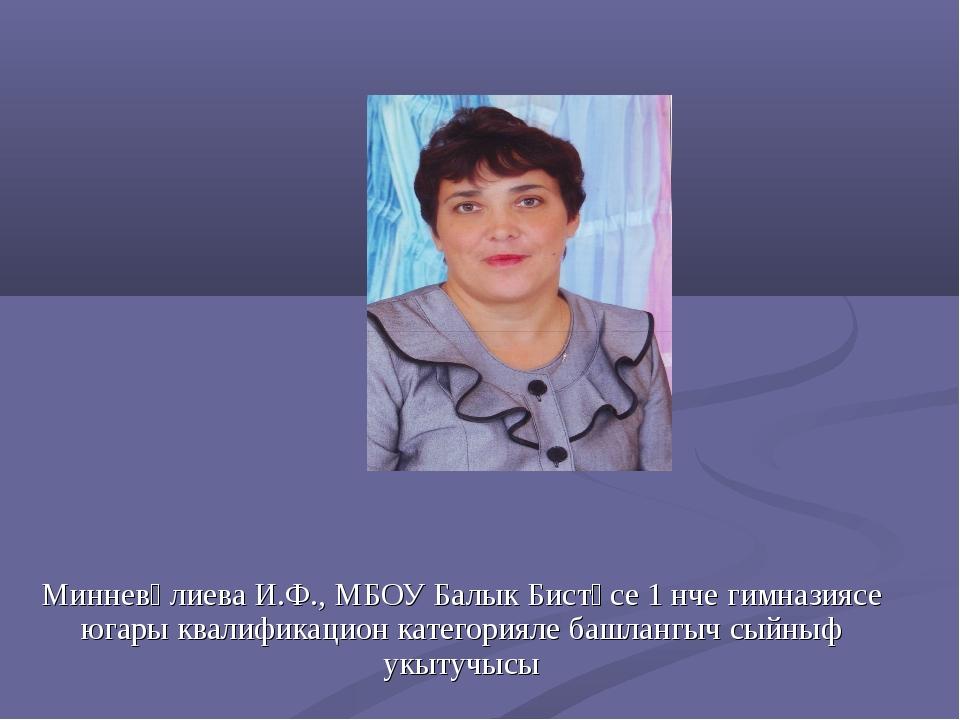 Минневәлиева И.Ф., МБОУ Балык Бистәсе 1 нче гимназиясе югары квалификацион ка...