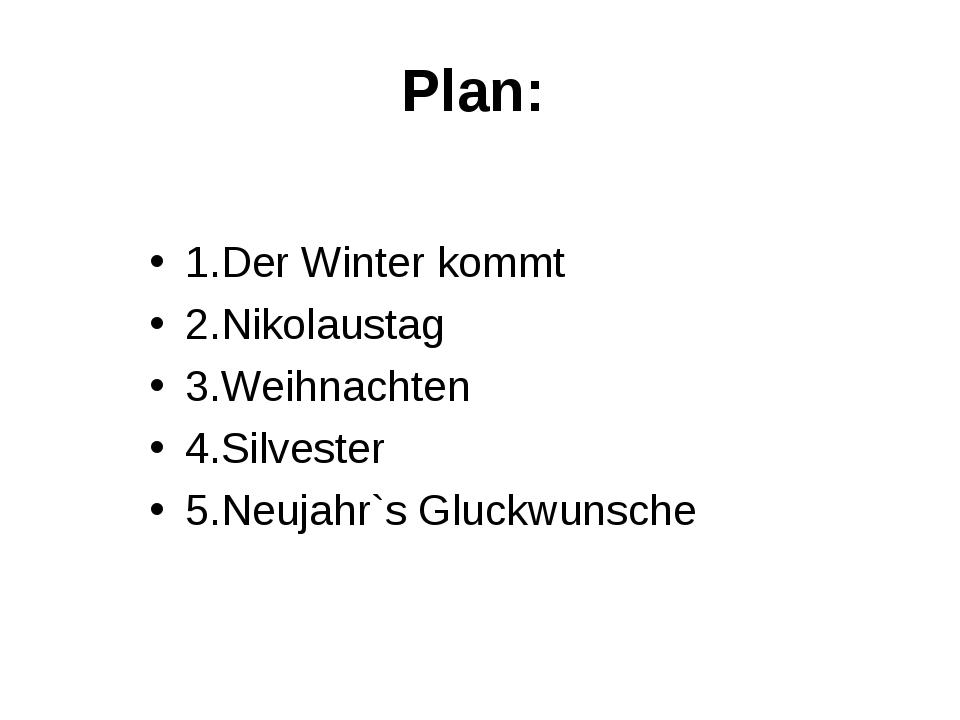 Plan: 1.Der Winter kommt 2.Nikolaustag 3.Weihnachten 4.Silvester 5.Neujahr`s...