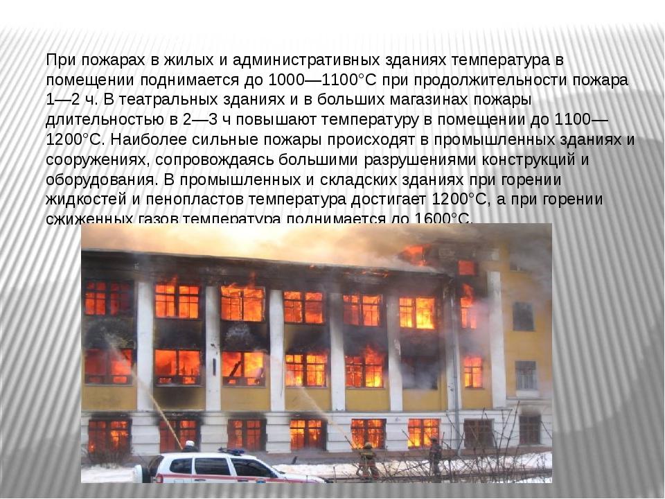 При пожарах в жилых и административных зданиях температура в помещении подним...