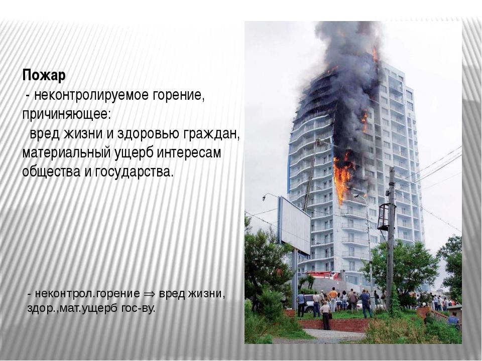 Пожар -неконтролируемое горение, причиняющее: вред жизни и здоровью граждан...
