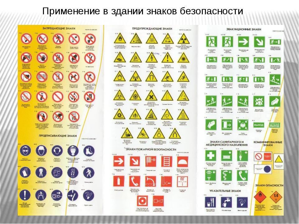 Применение в здании знаков безопасности