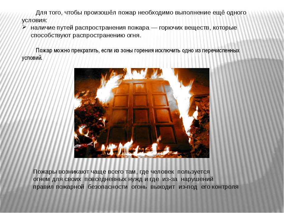 Для того, чтобы произошёл пожар необходимо выполнение ещё одного условия: на...