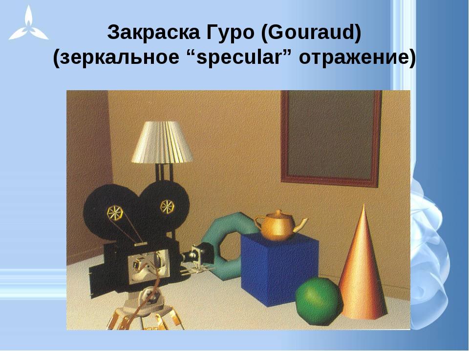 """Закраска Гуро (Gouraud) (зеркальное """"specular"""" отражение)"""