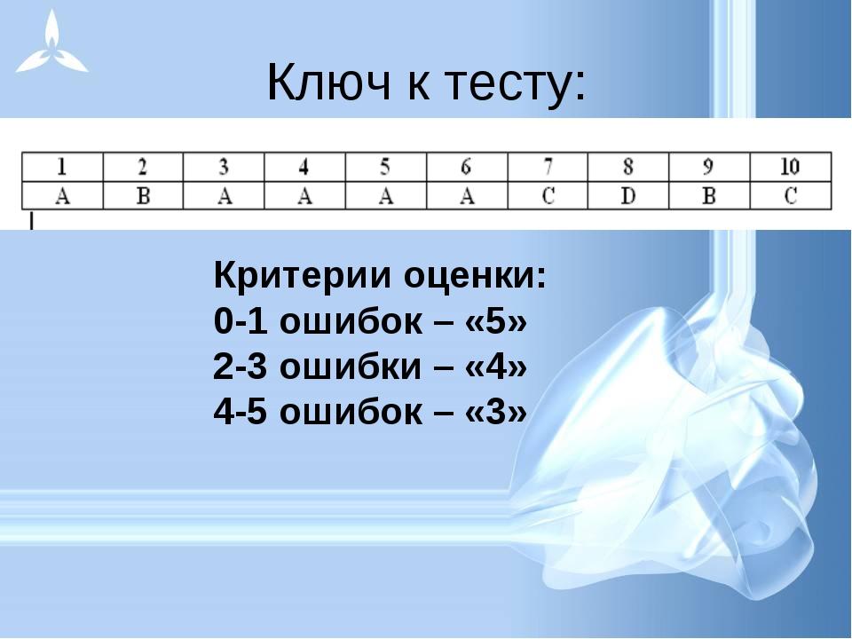 Ключ к тесту: Критерии оценки: 0-1 ошибок – «5» 2-3 ошибки – «4» 4-5 ошибок –...
