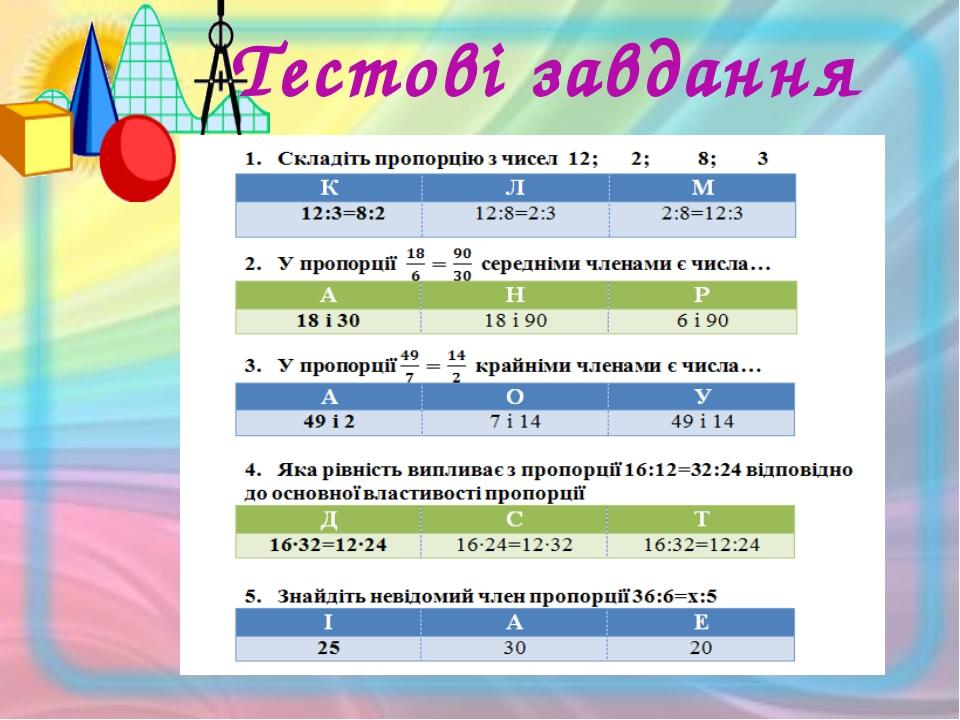 Відповідь на тестові завдання К Р А С А Пропорція – формула краси та гармонії