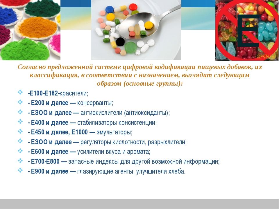 Согласно предложенной системе цифровой кодификации пищевых добавок, их класси...