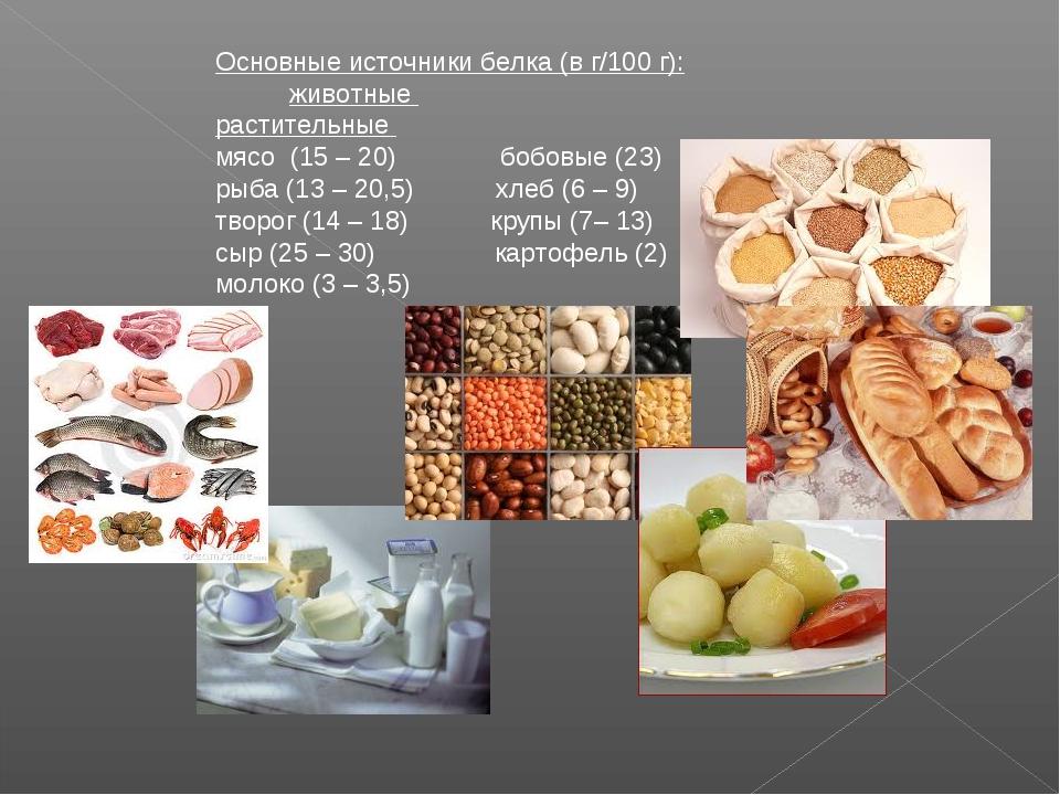 Основные источники белка (в г/100 г): животные растительн...