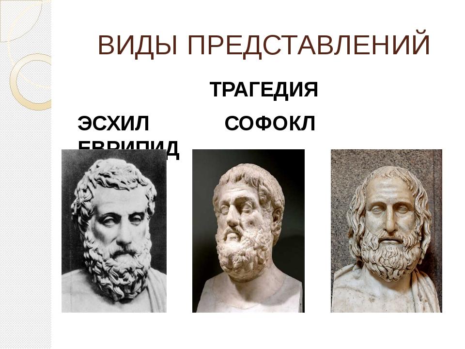 ВИДЫ ПРЕДСТАВЛЕНИЙ ТРАГЕДИЯ ЭСХИЛ СОФОКЛ ЕВРИПИД