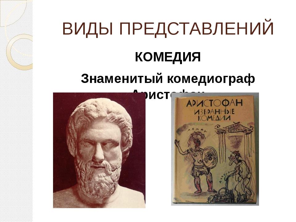 ВИДЫ ПРЕДСТАВЛЕНИЙ КОМЕДИЯ Знаменитый комедиограф Аристофан