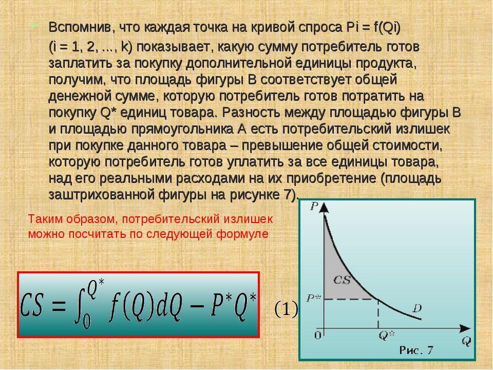 Вспомнив, что каждая точка на кривой спроса Pi = f(Qi) (i = 1, 2, ..., k) пок...